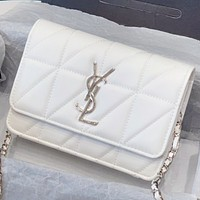 Hipgirls YSL New fashion leather chain shoulder bag crossbody bag White