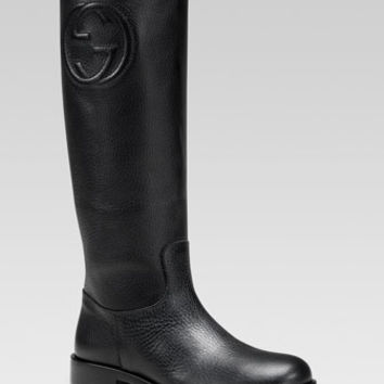 Gucci Soho Leather Tall Boot, Black