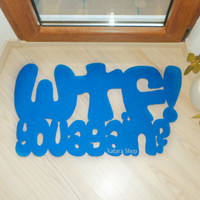 "Personalized doormat. Mat with a joke ""WTF- you again/"" Original and funny."