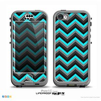 The Turquoise-Black-Gray Chevron Pattern Skin for the iPhone 5c nüüd LifeProof Case