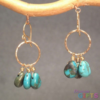 """Turquoise on hammered circles, 1-1/2"""" Earring Gold Or Silver"""