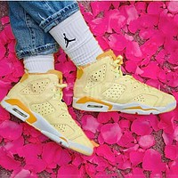 NIKE Air Jordan 6 GS Floral AJ6 Floral High top Embroidered Women's Shoes Lemon Yellow