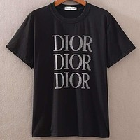 DIOR 2019 early spring new tide brand letter LOGO printing casual round neck half sleeve T-shirt Black