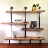 Addison Street Reclaimed Wood Shelving Unit - Reclaimed Wood Wall Shelf - Reclaimed Wood & Pipe Shelf