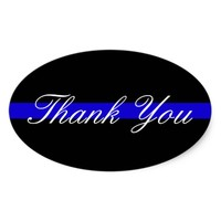 THANK YOU POLICE SUPPORT OVAL BUMPER STICKER