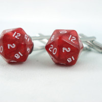 Teeny Tiny Red Pearlescent D20 Cuff Links by angelyques on Etsy