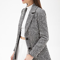 FOREVER 21 Two-Tone Boucle Topcoat Cream/Black