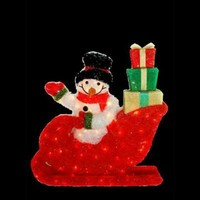 SheilaShrubs.com: Snowman Riding In The Red Sleigh Wave Hello with Gift Packages with 85 Clear UL Lights K11B34 by Meizhou Hong Feng Arts: Christmas Outdoor Decor