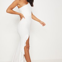 White One Shoulder Ruffle Hem Maxi Dress