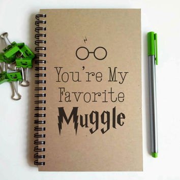 Writing journal, spiral notebook, sketchbook, blank journal, lined notebook, custom, personalized - You're my favorite Muggle, Harry Potter