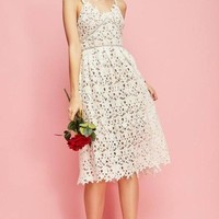 """Minka"" White Crochet Lace Fit and Flare Midi Dress"