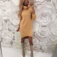 Fashion Women Solid Turtleneck Sweater Dress Casual Long Sleeve Pullover Dress Autumn Slim Knitted Dresses