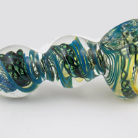 NEW 4 Inch Heavy Solid Glass Spoon Bowl - Color Changing Triple Bubble Design Pipe Aqua Blue and Dark Green