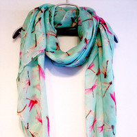 Pink Dragonfly Light Blue / Green Scarf