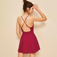 Fashion Casual Women Plunging Crisscross Back Polka Dot Cami Dress
