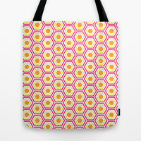 Colored Hexies Tote Bag by dani