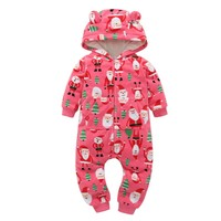 Newborn baby Clothes Cotton Fleece Christmas Tree Santa Claus Print Hooded Baby Rompers With Ears Autumn Winter Baby Onesuit