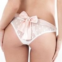 Mimi Holliday, Lingerie, Bottoms, Knickers, Bow Back Thong, White Polka Dot Lace, Ice Pink, Dotty L'Amour, AW13-118, Damaris | Mimi Holliday | Max Holliday - The Official Website