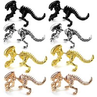 ZRM 2pcs/pairs Fashion Jewelry 3D Scary Monster Alien Stud Earring Black Color Dinosaur Earring For Women Men Halloween Gift