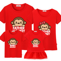 """Family matching clothes 100%cotton casual T-shirts matching mother and daughter clothes mother daughter dress""""Cute monkey"""""""