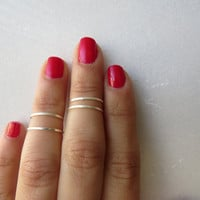 Silver Ring - Knuckle Rings - Thin silver shiny bands - Set of 4 stack midi rings,Stacking rings