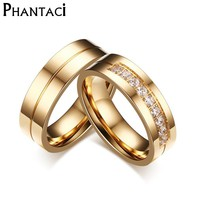 6MM Stainless Steel Wedding Ring For Lovers IP Gold Color Crystal CZ Couple Rings Set Men Women Engagement Wedding Rings