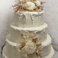 Sola & Burlap Rustic Fall Wedding Cake Topper with matching Flower Pick. Ready to Ship!