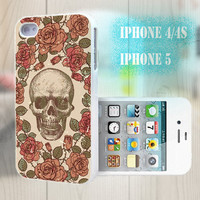 unique iphone case, i phone 4 4s 5 case,cool cute iphone4 iphone4s 5 case,stylish plastic rubber cases cover, rose skull  Vintage  p981