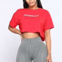 Merci Crop Tee - Red/White