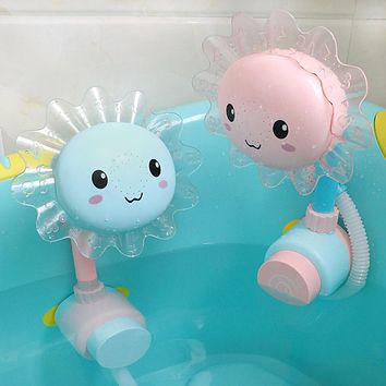 Lovely Sunflower Kids Baby Shower Faucet Spout Bathing Water Play Sprinkler Toy