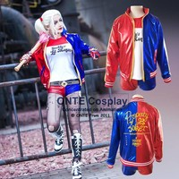 2016 NEW movie Suicide Squad Harley Quinn female clown cosplay costume halloween clothing coat jacket accessories tattoo set