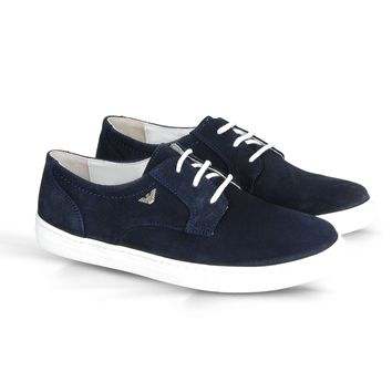 Boys Navy Blue Suede Shoes