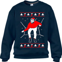 Ugly Christmas Sweaters Navy Blue Hotline Bling Sweater (Red Print)