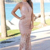 Champagne Embroidered Maxi Dress with Mesh Back