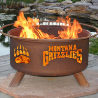 UM University Of Montana Grizzlies NCAA Portable Outdoor Grilling Fire Pit
