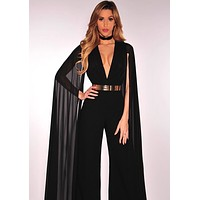Black Flowing Cape Sleeve Jumpsuit