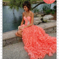Sweetheart High Low Prom Dresses, Coral Organza Evening Dress, Sexy Beaded Homecoming Dresses, Cheap Lace Up Evening Dress, Cocktail Dress