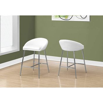 """Counter Height Bar Stools - 41"""" x 41"""" x 59.5"""" White, Foam, Metal, Leather-Look - Barstool 2pcs"""