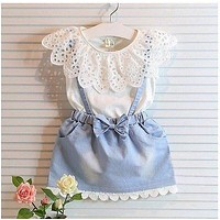 2016 New Fashion Kids Girls Dress Cute Princess Girl Baby Sleeveless Denim Tulle Bowknot Dress