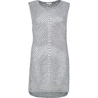 River Island Womens Grey metallic mesh sleeveless top