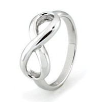 TIONEER Sterling Silver Iconic Classic Infinity Ring, Size 7