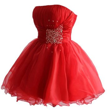 Faironly Zm3 Homecoming Mini Party Cocktail Dress (XS, Red)