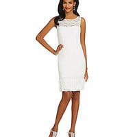 JS Collections Floral-Lace Feather-Hem Sheath Dress - Ivory