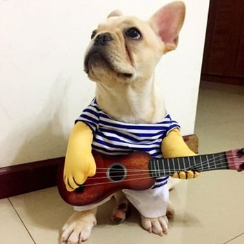 Guitar Playing Walking Dog Cat Pet Costume