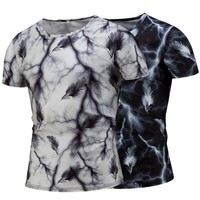 Print Short Sleeve Stylish Casual Round-neck T-shirts [10352116483]