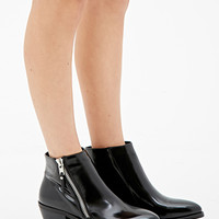 Zippered Faux Leather Booties