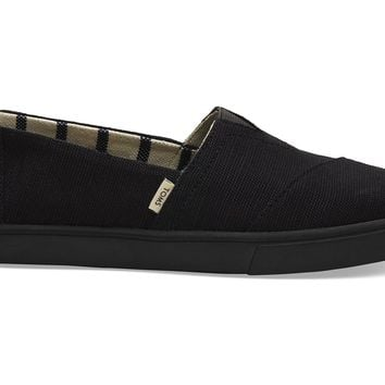 TOMS - Venice Collection Black on Black Heritage Canvas Women's Cupsole Classics Slip-Ons
