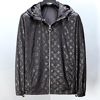 LV & Fendi full printed logo hooded zipper jacket lv