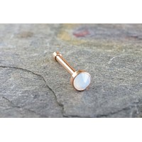 Rose Gold Nose Bone with 2mm White Opalite Gem