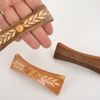 Narrow handmade designer wooden hair clips set 3 pieces of different colors